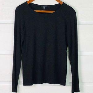 EILEEN FISHER Black Long Sleeve Petite T-Shirt